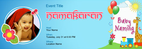 Free photo upload invitation with india s 1 online tool for Baby namkaran decoration